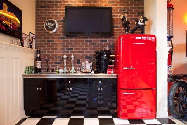 Bosch Kühlschrank Vintage : Standkühlschrank retro look rot keller renovierung schwarze