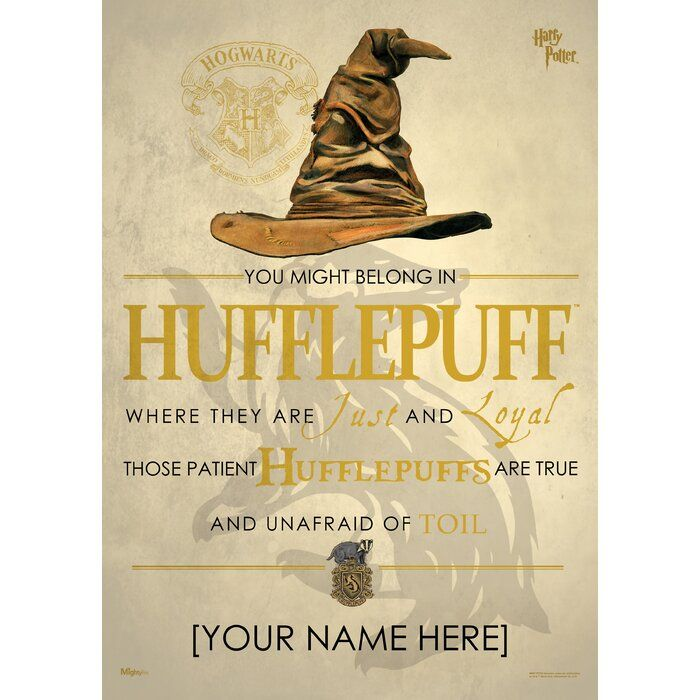 Harry Potter Sorting Hat Hufflepuff Personalized Unframed Graphic Art Print In 2020 Harry Potter Sorting Harry Potter Hufflepuff Harry Potter Sorting Hat