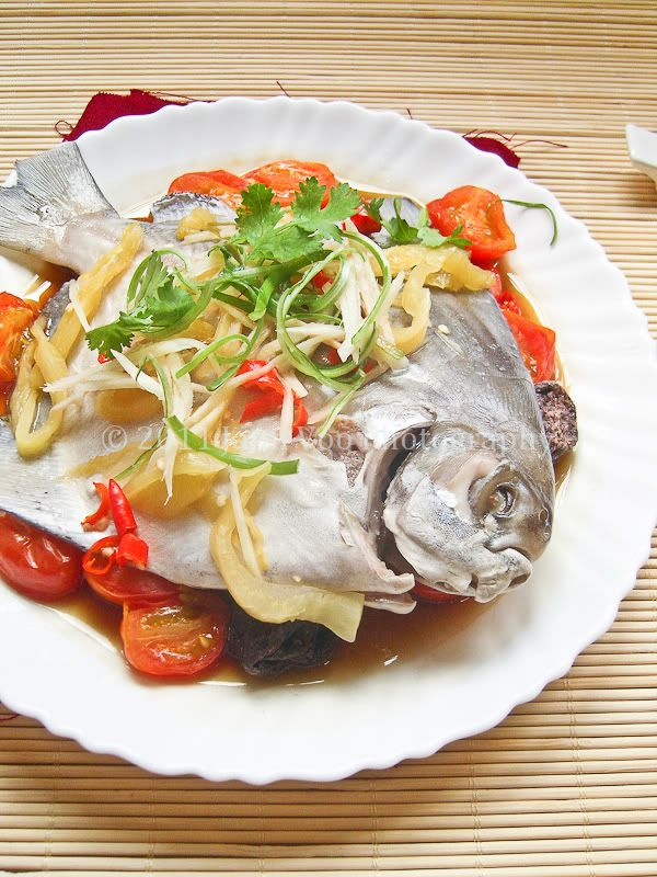 Teochew chiu chou steamed fish pomfret another for Chinese steamed fish recipe