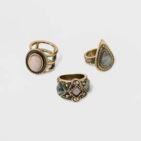 Have a strong hand game with this ring set! The texture set and stone 3 piece ring set is modern and will get you noticed. Great to wear individually or stack for the on trend look.