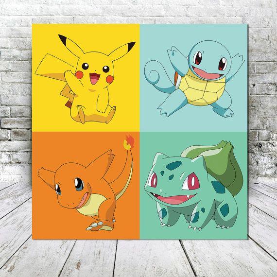 Impresión de lona Pokemon Starter -Pikachu - Squirtle - Charmander ...