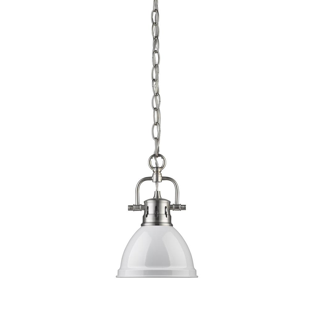 Golden Lighting Duncan 1 Light Pewter Mini Pendant With White Shade Chain 3602 M1l Pw Wh Golden Lighting