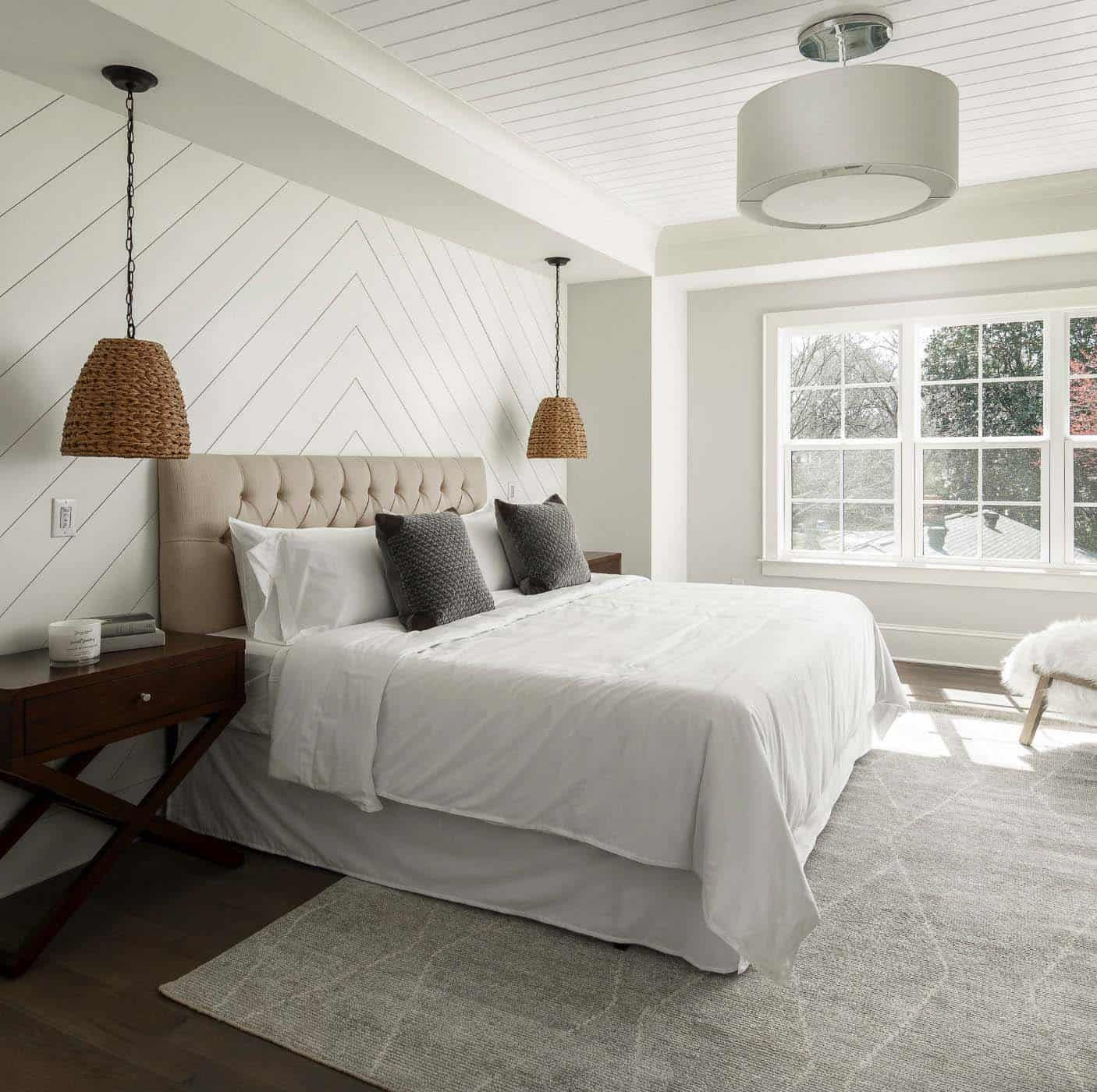 Dream House Tour A Beautiful Modern Farmhouse In North Carolina Accent Wall Bedroom Bedroom Wall Bedroom Design