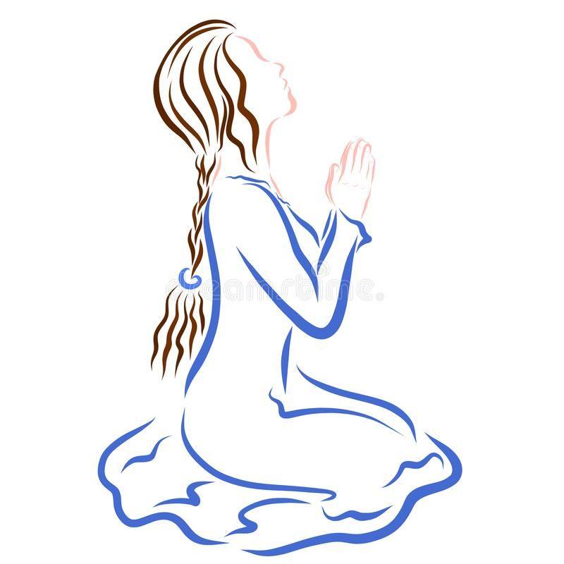 Mujer Joven Hermosa Que Ruega A Dios En Sus Rodillas Stock De Ilustracion Ilustracion De Ella Humil Mujer Orando Ilustracion Religiosa De Rodillas Ante Dios