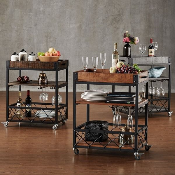 Industrial Kitchen Cart Bar Cart Serving Cart: TRIBECCA HOME Myra Rustic Mobile Kitchen Bar Serving Wine