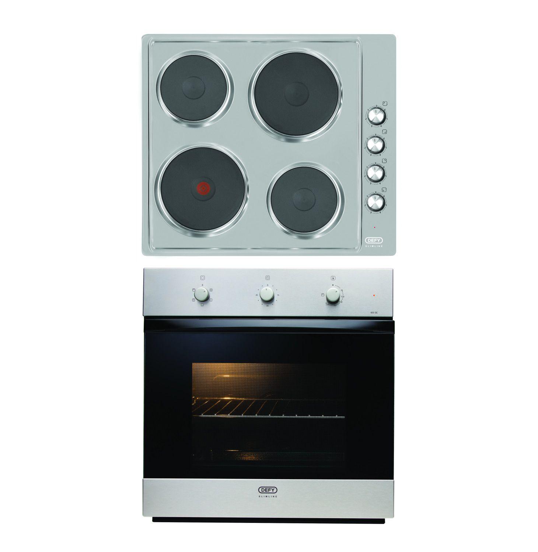 DEFY 600 mm Slimline Oven and Hob Box Set Stainless steel DCB013 ...