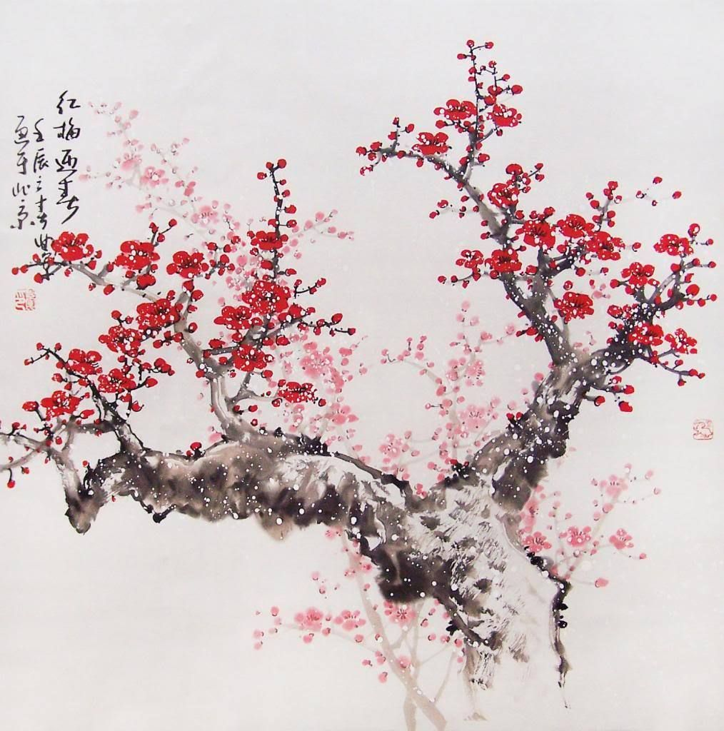 Chinese Cherry Blossom Art Quality Canvas Print Poster 12x8 Cherry Blossom Painting Cherry Blossom Art Chinese Cherry Blossom