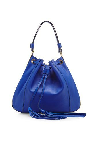 Cobalt blue leather shoulder bag by MARNI Available Now on Moda Operandi