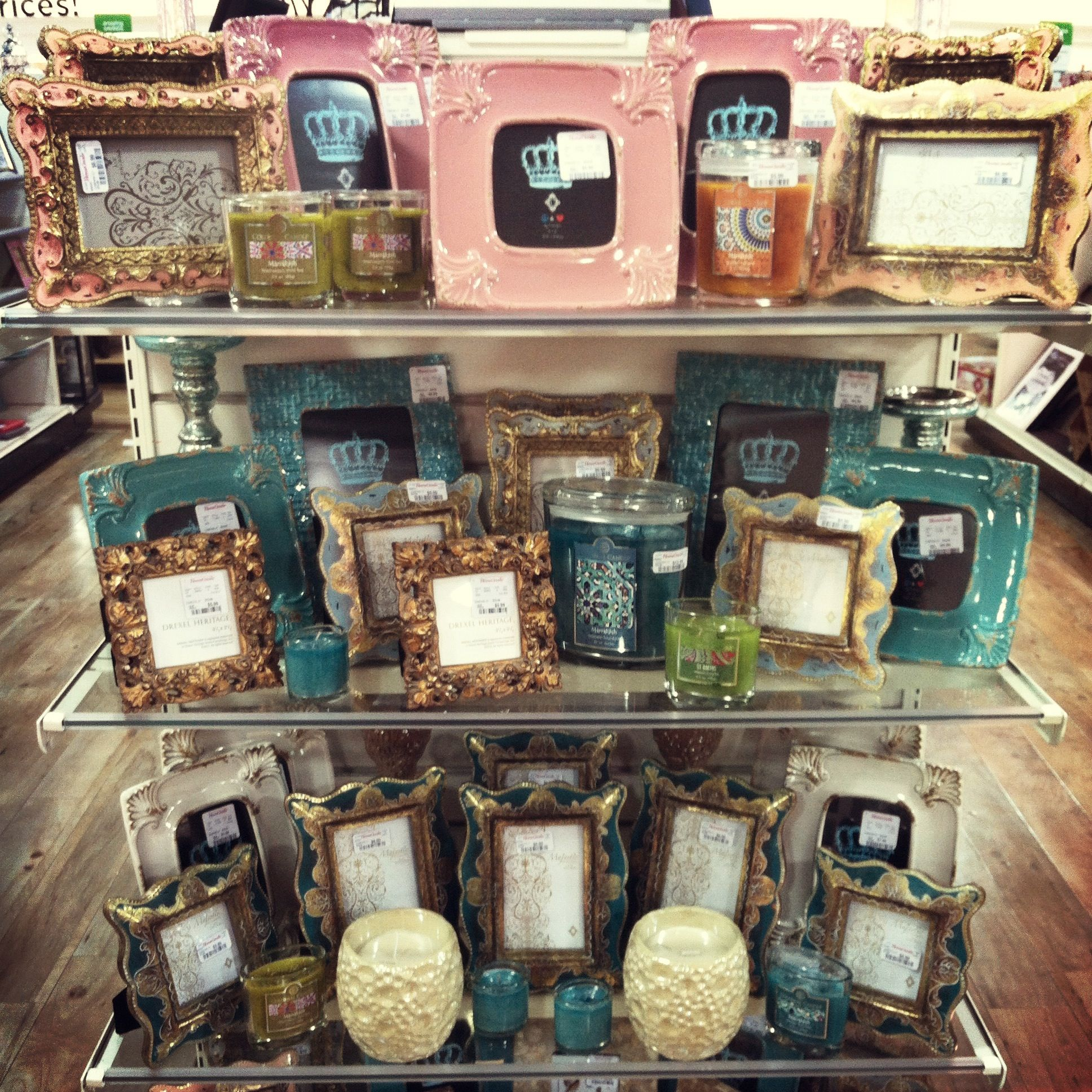 HomeGoods end cap: frames and candles | Merchandising Projects ...