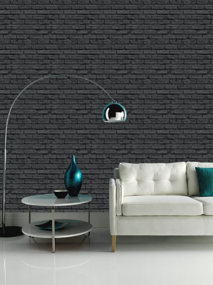 This Black Bricked Wallpaper Has A Real Urban Edge. Sleek And Stylish  Furniture Will Really