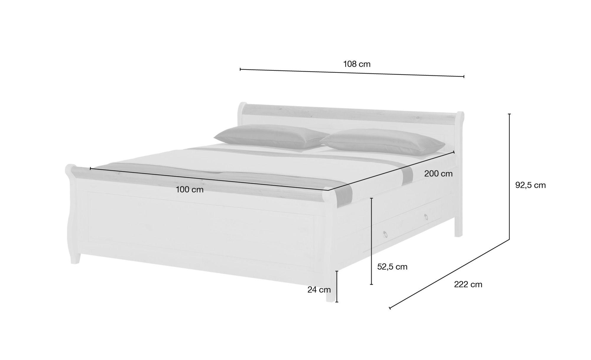 Bettgestell 100x200 Weiß Kiefer Landhaus Stil Bornholm