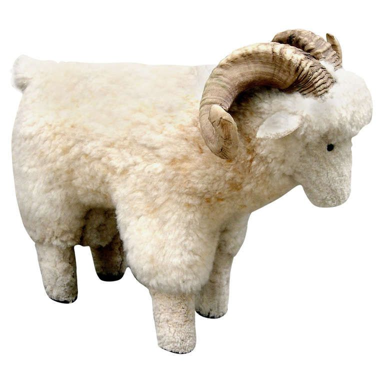 Attractive 1stdibs | Charming Sheep Skin Covered Sheep Foot Stool With Real Horn Awesome Design
