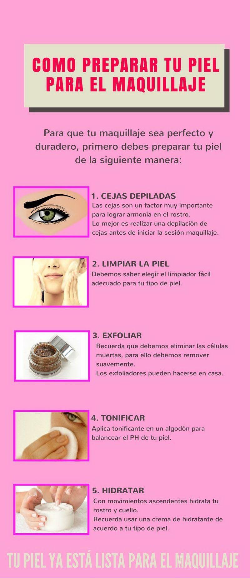 Mi Pequeños Aportes Cómo Preparar Tu Piel Para El Maquillaje Aquí Te Dejo Una Infografía Sobre Como Prepa Easy Eye Makeup Tutorial Makeup Eye Makeup Tutorial