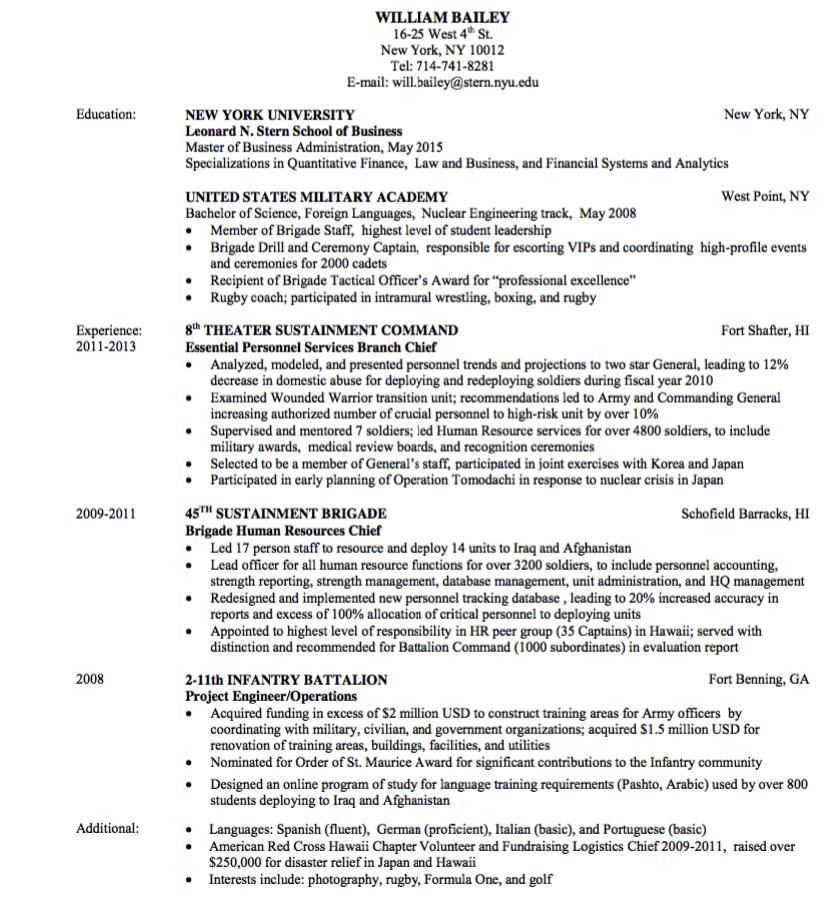 Military Resume Example Sample Military Resumes And Writing Tips  Sample Military Resume