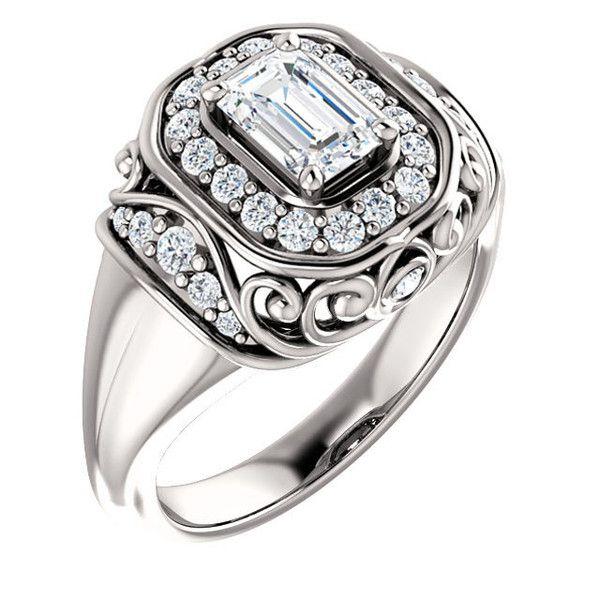 0.75 Ct Emerald Diamond Engagement Ring 14k White Gold