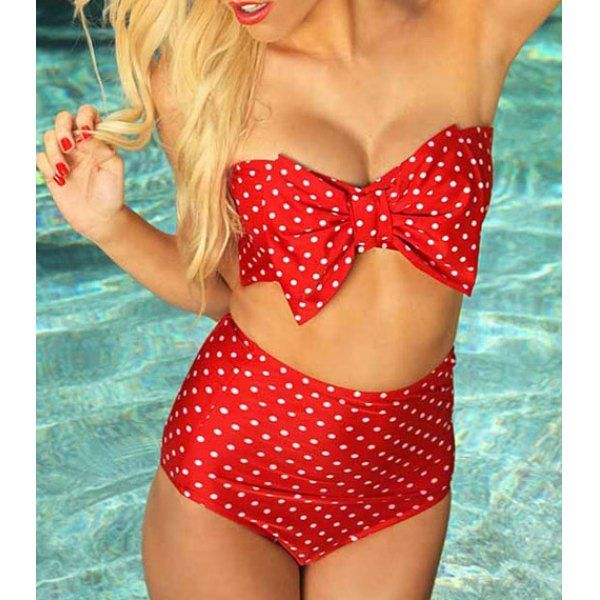 ba6b88d2240d6 Sexy Strapless Bowknot Embellished Polka Dot Two-Piece Swimsuit For Women