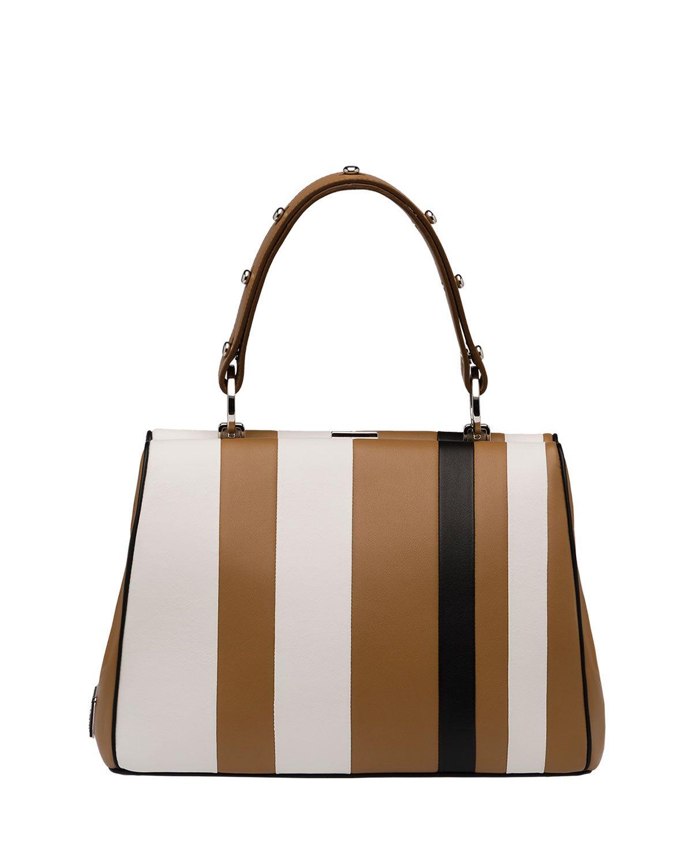 c6bd4fb174f8 Baiadera Arcade-Stripe Frame Satchel Bag, Camel/White/Black  (Caramel+Bianco+Nero)