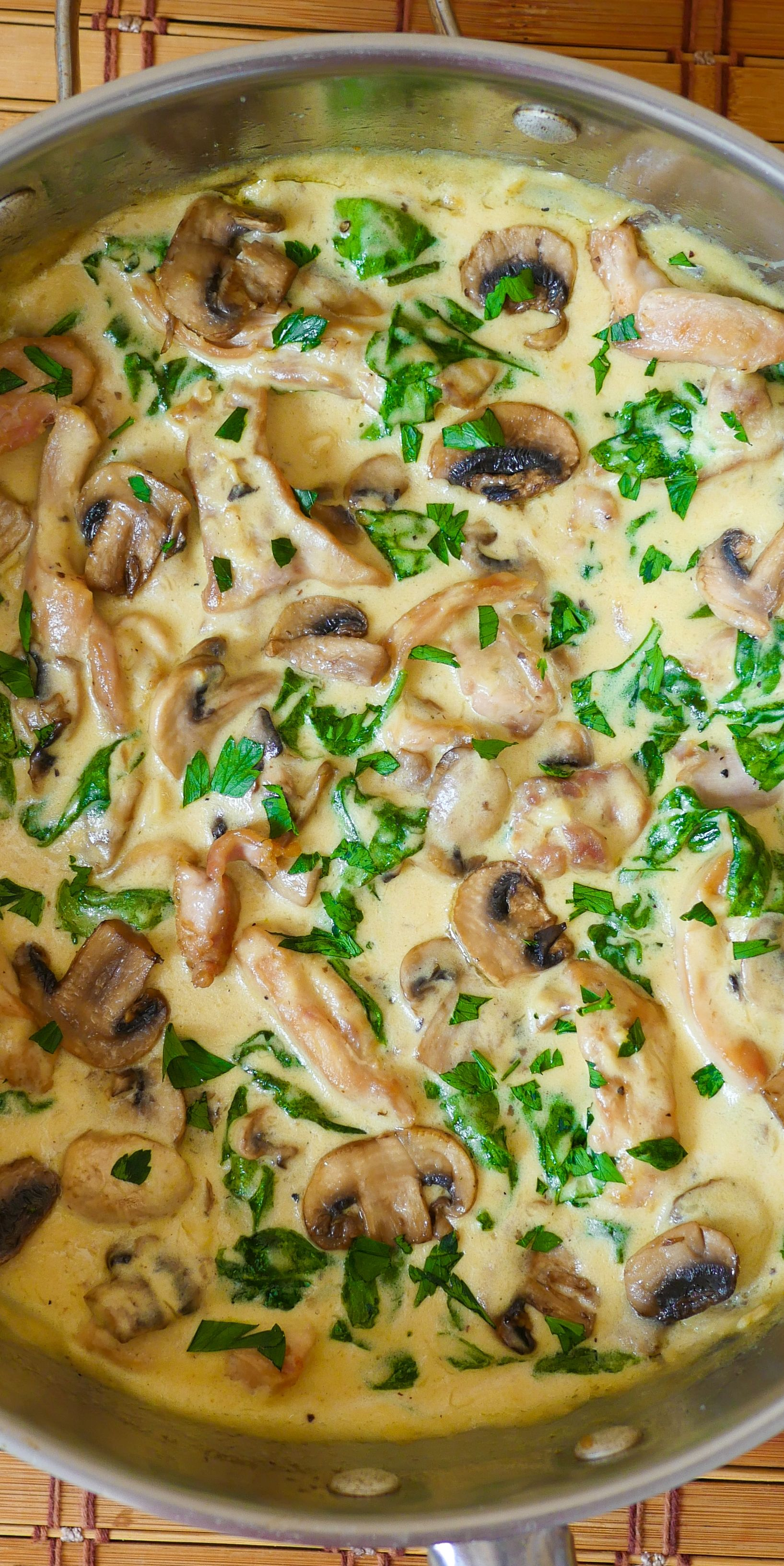 Chicken And Spinach In Creamy Mushroom Sauce Easy Weeknight Dinner Recipe With Images Chicken Spinach Recipes Recipes Chicken Recipes