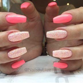 pinterest: @xpiink ♚ pink glitter nails acrylic tips