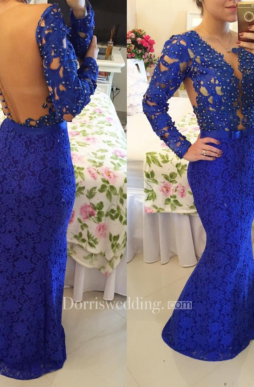 Stunning long sleeve lace evening dress pearls mermaid prom