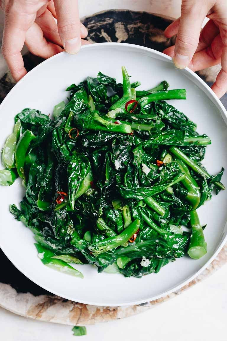 Photo of Healthy leafy greens – Chinese Broccoli with Garlic Sauce!