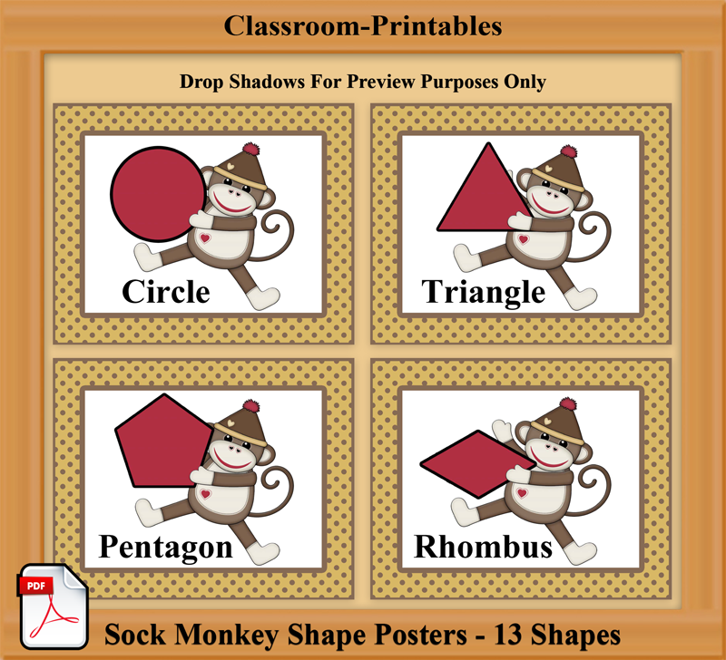 printable sock monkey shape posters for daycares and early childhood classrooms