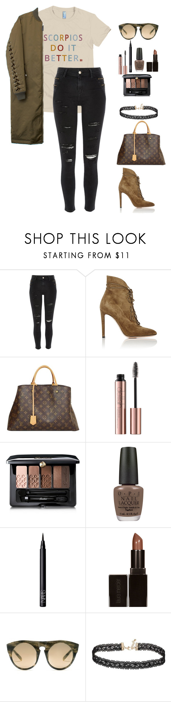"""""""Scorpios Do It Better"""" by birthdaygirlworld ❤ liked on Polyvore featuring River Island, Gianvito Rossi, Louis Vuitton, Guerlain, OPI, NARS Cosmetics, Laura Mercier, Alexander Wang and Miss Selfridge"""