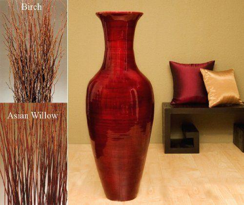 47 Tall Mahogany Red Classic Bamboo Floor Vase Free Asian Willow