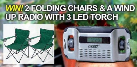 Win 2 Folding Chairs and a Draper Wind up Radio with 3 LED Torch