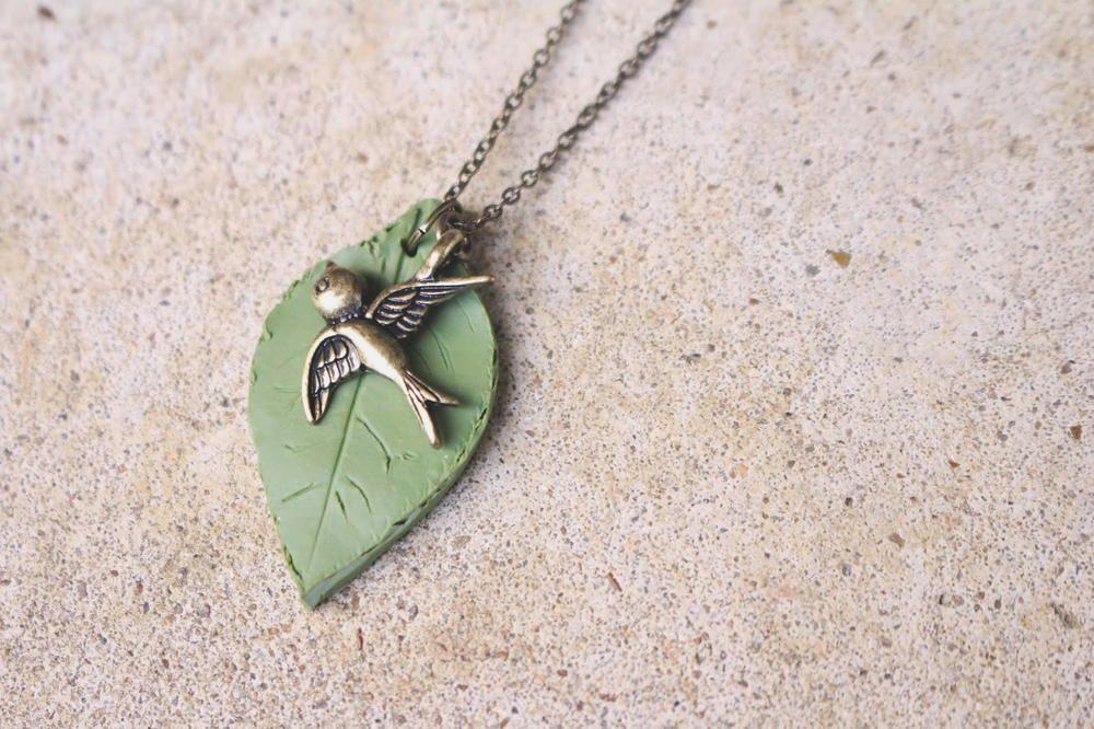 Clay Leaf Necklace Pendant Leaf necklace, Pendants