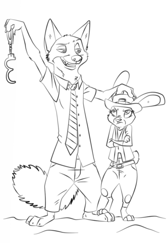 Nick Wilde and Judy Hopps from Zootopia Coloring page | Zootopia ...