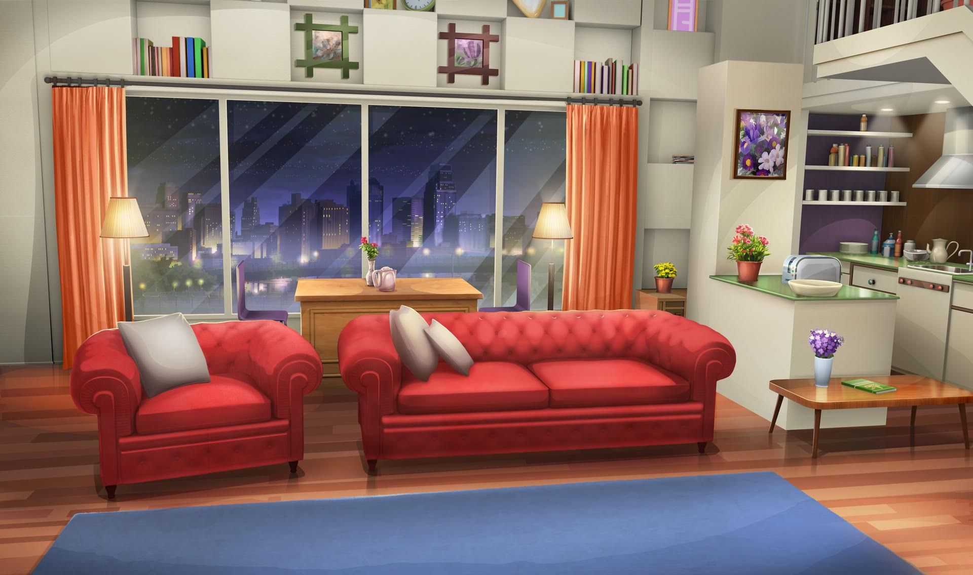 INT. FANCY APARTMENT LIVING ROOM NIGHT Cenário anime