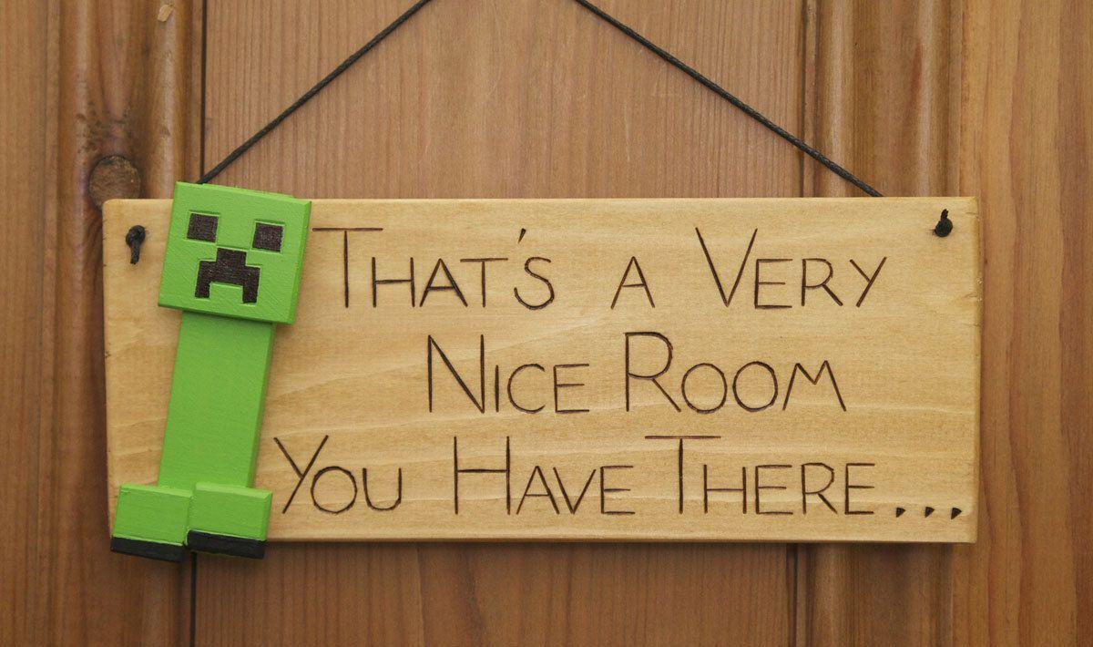 Minecraft Creeper Inspired Wooden Door Plaque Sign Great Gift for ...
