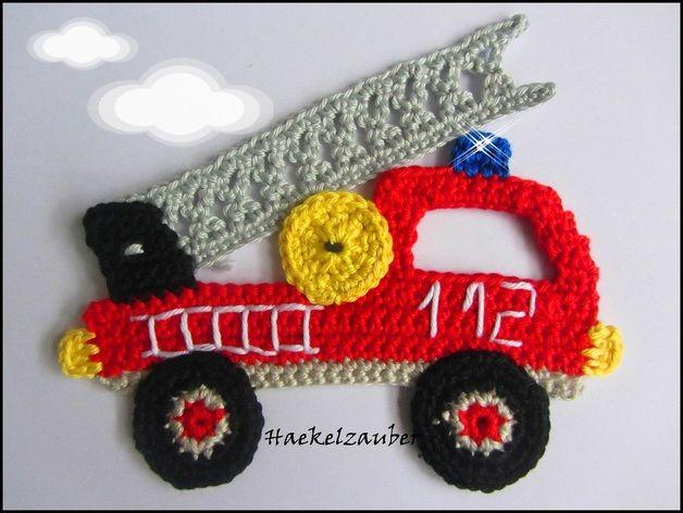 Handgehäkelter Feuerwehrauto Ca 15cm X 13cm Diese Applikationen Kann