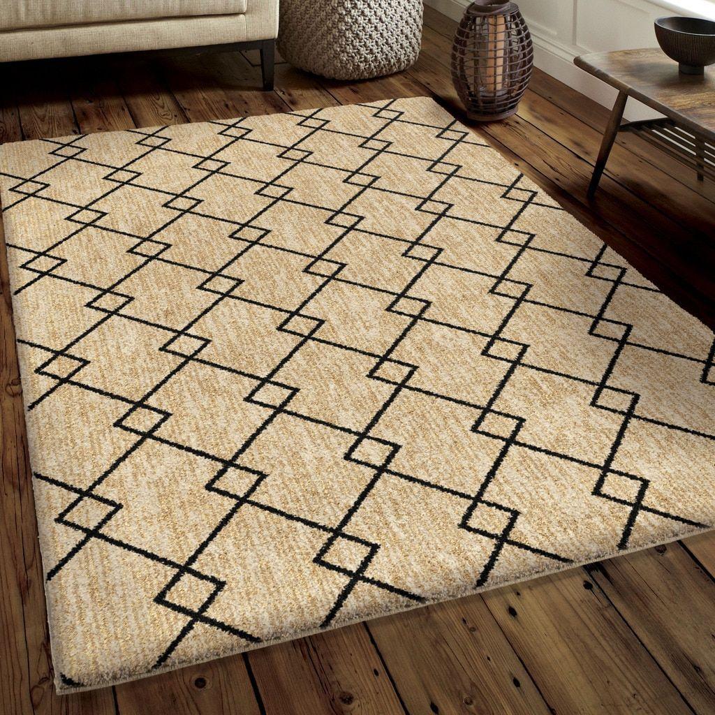 Carolina Weavers Modern Boundaries Collection Cross Between Tan Rug ((7 ft 10 in x 10 ft 10 in)), Size 8' x 11'