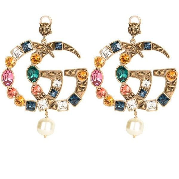 Gucci Marmont Gg Earrings 1 850 Liked On Polyvore Featuring Jewelry Pendant Multi Colored Pearl Tr