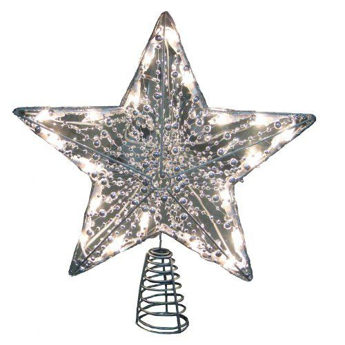 155 Lighted and Beaded Silver Star Christmas Tree Topper Clear