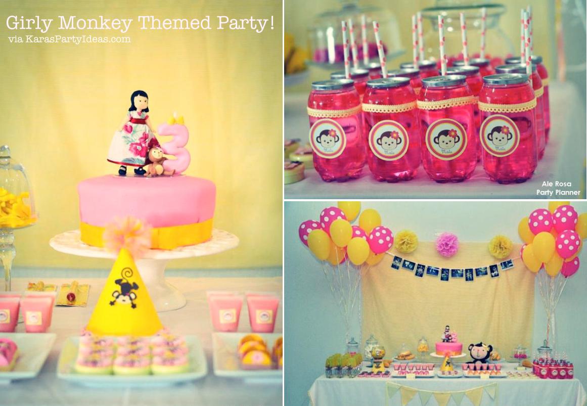 Girly Monkey Pink Yellow Banana 3rd Birthday Party Planning Ideas
