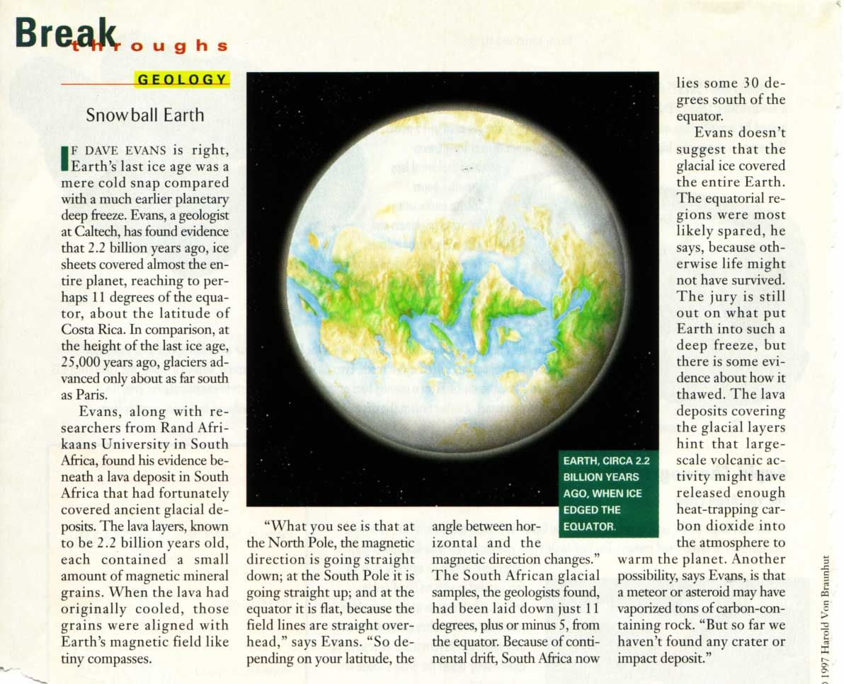 Snowball Earth Ca 2 2 Ga
