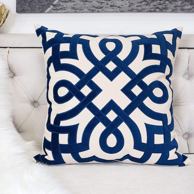 Amazon Com Homey Cozy Indigo Throw Pillow Cover Large Premium