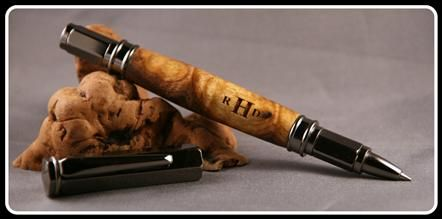 www.pensbybear.com American Walnut Burl Wood  Gunmetal Hardware  Magnetic, Postable Cap  Roller-Ball Type Refill   Shown Pen Not for Sale (but similar pen can be special ordered)  Pen Style $45.00 Plus Engraving