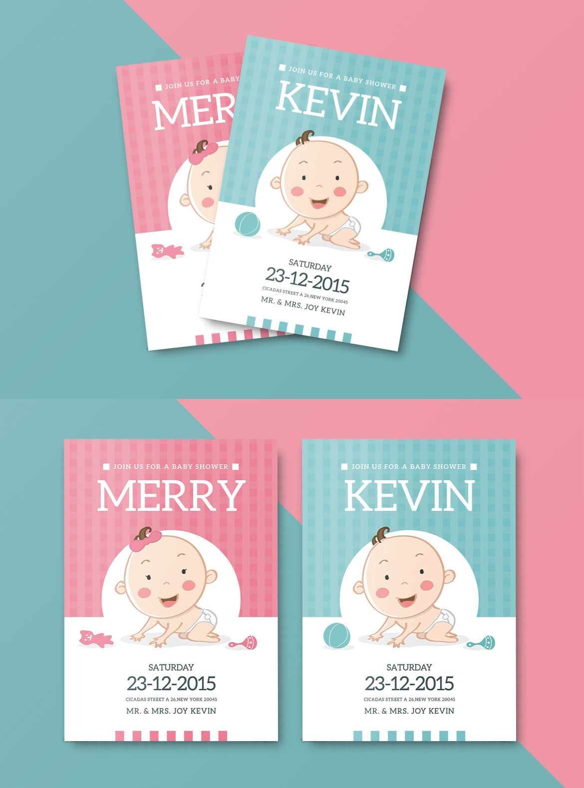 Baby Shower Invitation Card Template AI PSD