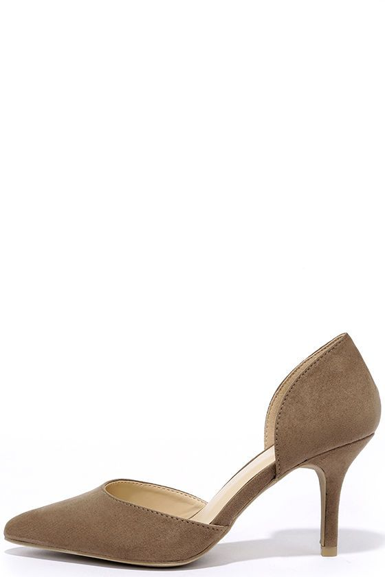 Beauty Call Taupe D'Orsay Kitten Heels | Kitten heels, Taupe and ...