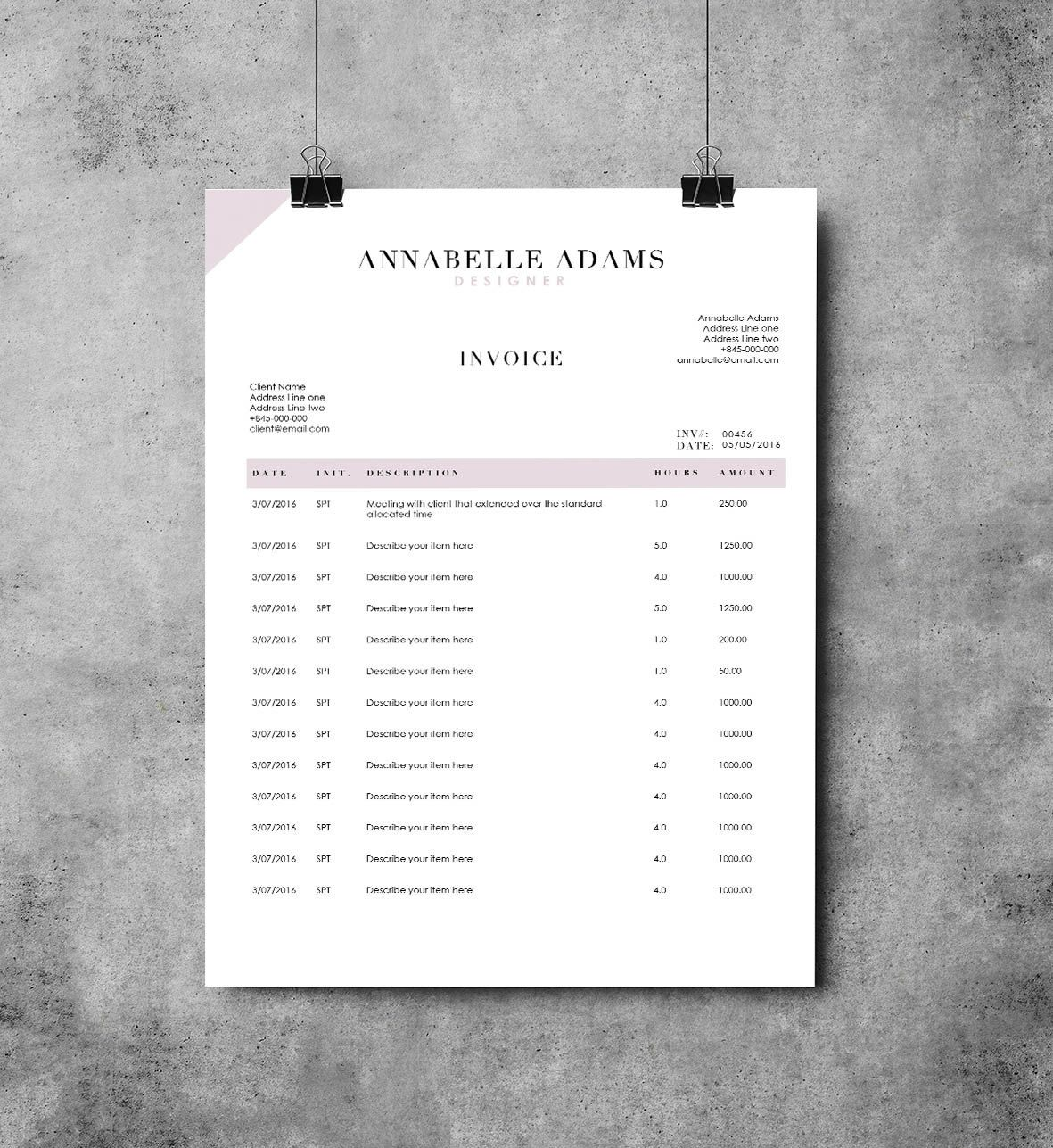 Adams 2 Page Invoice Template | Receipt Template | Invoice Design | MS Word  Invoice By  Invoice Design Template