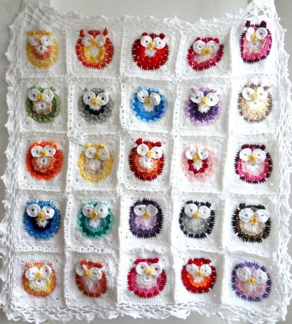DIGITAL CROCHET PATTERN owl Blanket,crocheted blanket pattern,photo ...