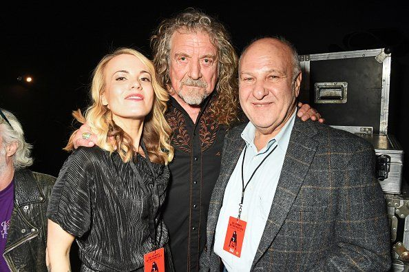 Mollie Marriott, Robert Plant and Harvey Goldsmith backstage at Bill Wyman's birthday gala in London on October 28, 2016
