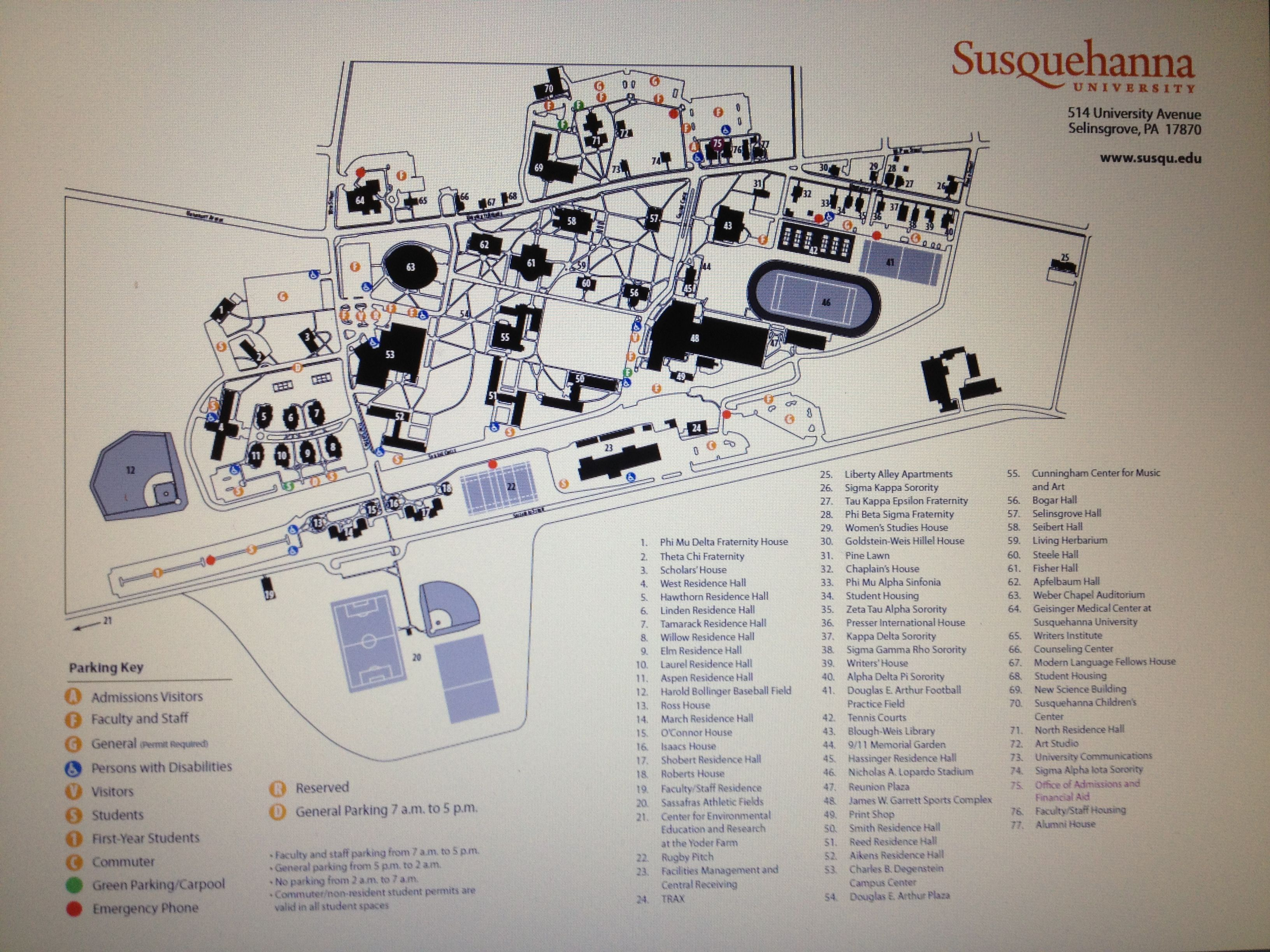 Susquehanna Campus Map.The Susquehanna University Map The Campus Pinterest Event