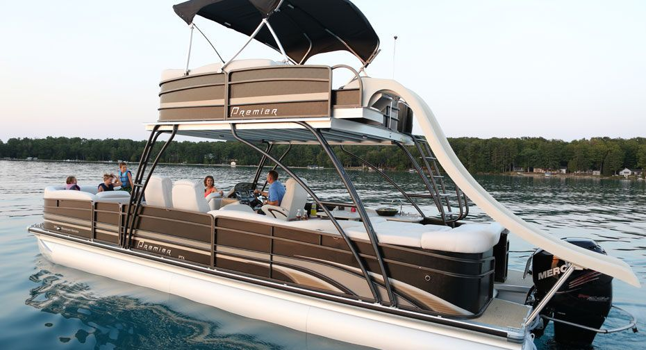 Double Terrace Deck Pontoon Boat With A Slide From