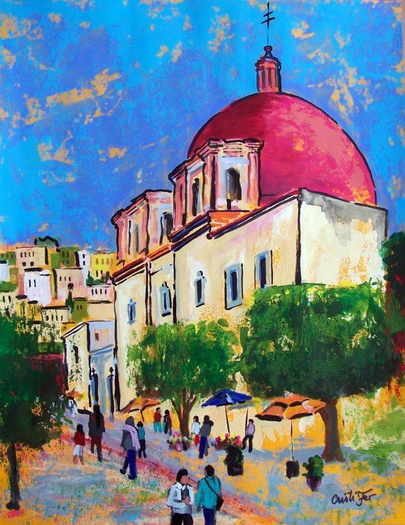 Original Painting Art Of Guanajuato In Mexico Street And Church Architecture Home Decor 19 5 Quot X 25 5 Quot Acryli Art Painting Painting Original Paintings