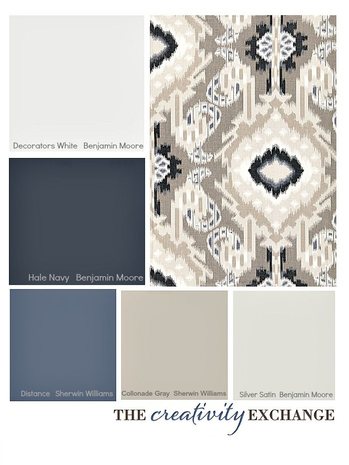 Tips for picking a paint color palette using fabric inspiration {Color  Palette Monday} The Creativity Exchange (Hale Navy for Dining Room)